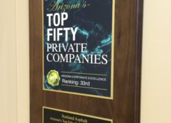 Sunland Asphalt Top Fifty Private Companies Award